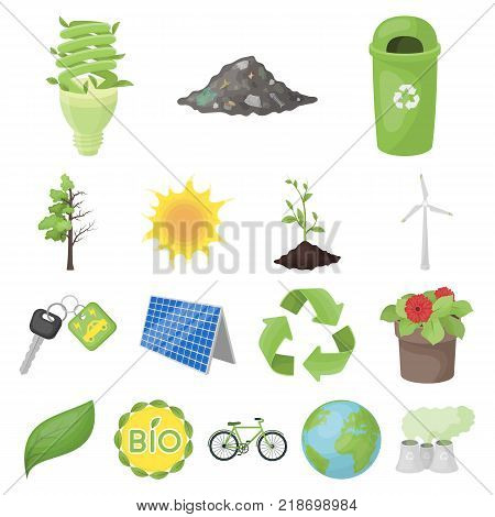 Bio and ecology cartoon icons in set collection for design. An ecologically pure product vector symbol stock  illustration.