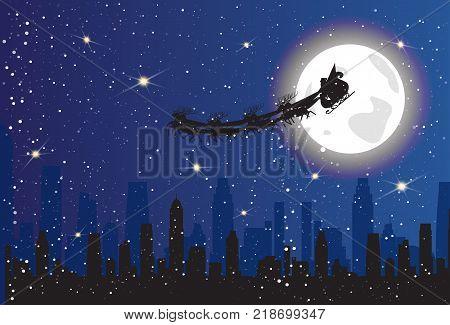 Santa Riding Reindeer Sledge Over Night City Silhouette Sleigh In Sky Christmas Concept Flat Vector Illustration