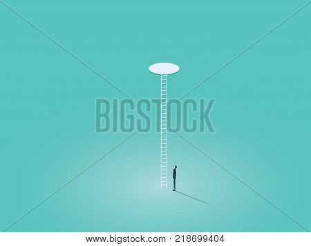 Business corporate ladder vector concept symbol with businessman climbing on ladder through hole. Symbol of success, hope, ambition. Eps10 vector illustration.