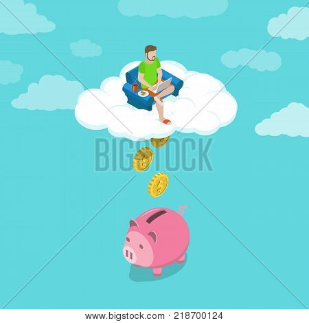 Remote job flat isometric vector concept. Young man is working with his laptop sitting in the arechare on the cloud. Coins are falling down from the cloud into the piggy bank.