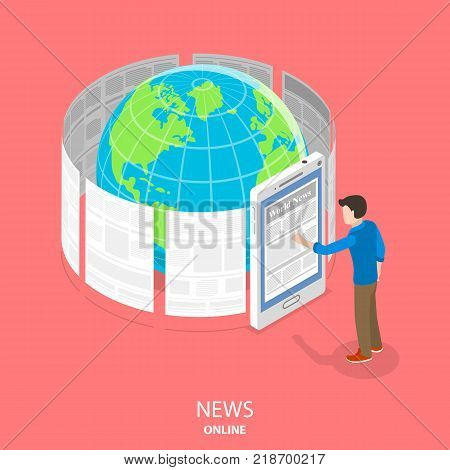 Online news flat isometric vector concept. News articles are whirling around the Earth. Man is standing near a big smartphone reading those articles through the smartphone screen.
