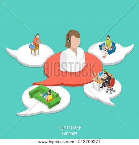 Customer support flat isometric vector concept. Big icon of the customer assistant on the red speech bubble and 4 white ones with customers around assistant.
