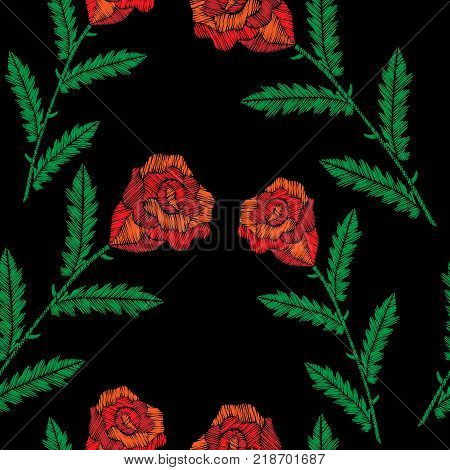 Seamless pattern with embroidery stitches imitation red roses. Fashion embroidery rose flower on black background. Embroidery roses background