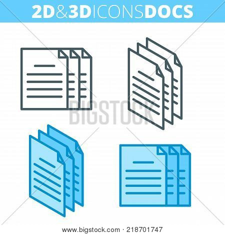 The paper document pile. Flat and isometric 3d outline icon set. The docs, office supply line illustration collection. Vector linear infographic elements for web design, social media, presentations.