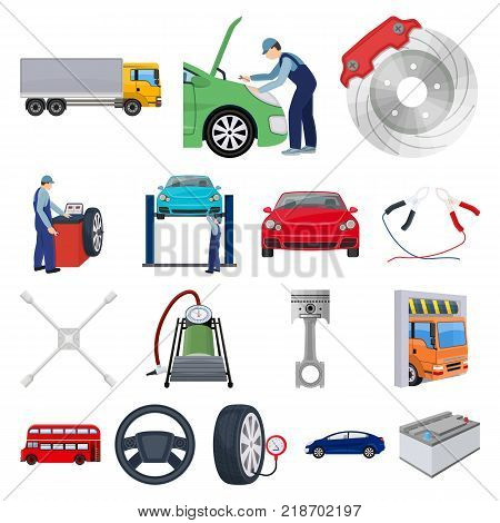 Car, lift, pump and other equipment cartoon icons in set collection for design. Car maintenance station vector symbol stock illustration .