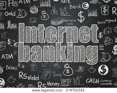 Banking concept: Chalk White text Internet Banking on School board background with  Hand Drawn Finance Icons, School Board