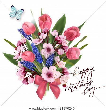 Greeting card happy Mothers day with a bouquet of pink tulips, cherry blossoms with blue butterfly. Template for birthday cards, Valentines day card spring background, banner invitations. Vector.