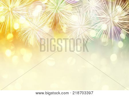 New year fireworks background and have copy space for design idea in your work.