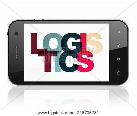 Finance concept: Smartphone with Painted multicolor text Logistics on display, 3D rendering