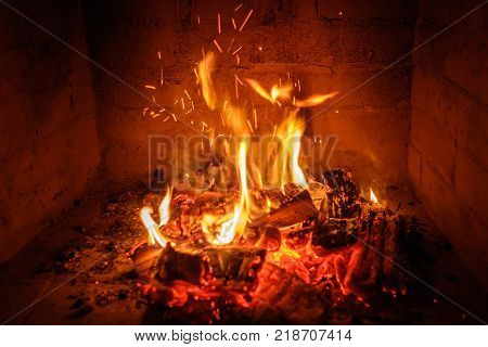 Fire Flames In Fireplace Background