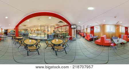 GOMEL BELARUS - MAY 26 2012: Full 360 panorama in equirectangular spherical equidistant projection in interier children's cafe with sweets and ice cream