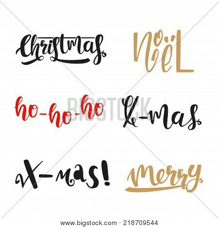 Calligraphic Christmas vector set. Christmas, noel, ho-ho-ho, x-mas merry