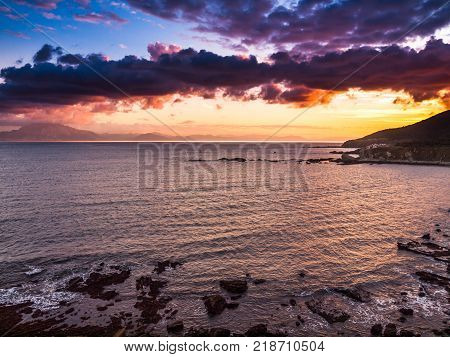 rocky coastline in the strait of Gibraltar, Spain, Europe