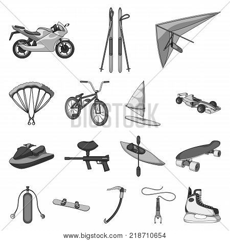Extreme sport monochrome icons in set collection for design.Different kinds of sports vector symbol stock  illustration.