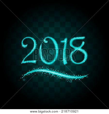 Blue particles wave in form of 2018 digits with bright shining and glowind particles isolated on transparent background. Glitter bright trail, glowing wave vector illustration