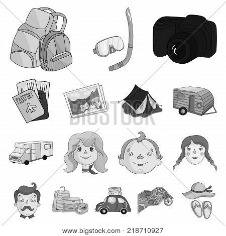 Family holiday monochrome icons in set collection for design. Recreation and equipment. vector symbol stock  illustration.