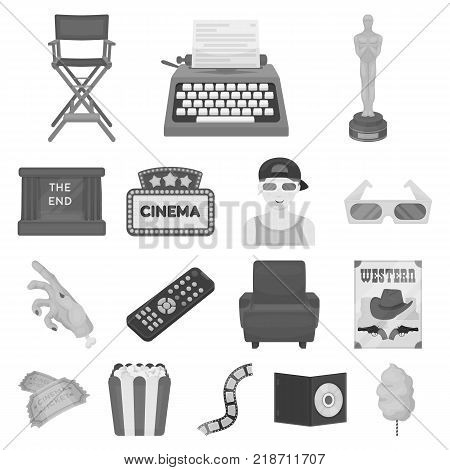 Films and cinema monochrome icons in set collection for design.Movies and Attributes vector symbol stock  illustration.