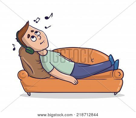 Young man lying on a sandy-colored couch listens to music in headphones. Cartoon character vector illustration. Isolated image on white background.