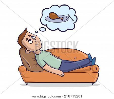 Young man lying on a sandy-coloured couch thinks about the food. Hungry guy dreams about piece of chicken. Cartoon character vector illustration. Isolated image on white background.