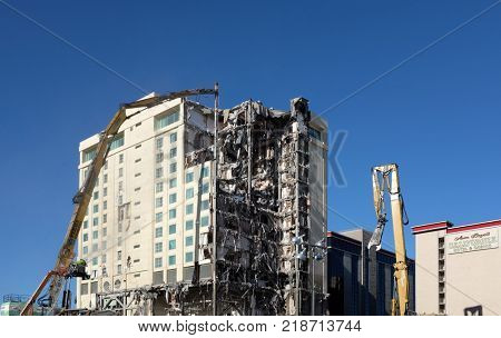 LAS VEGAS - DECEMBER 7, 2017: The Las Vegas Club Hotel and Casino demolition. The buildings are being razed to make room for a new Hotel Casino project.