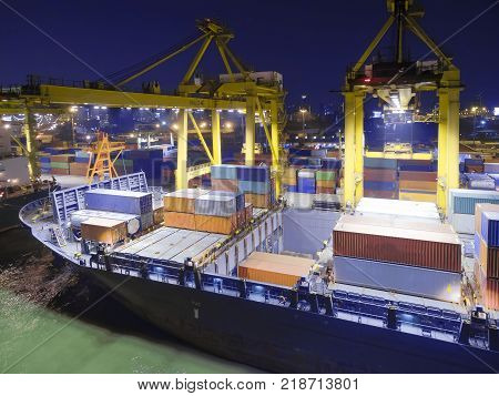 Container Ship Shipping Container Out Of The Shipping Depot By Sea.