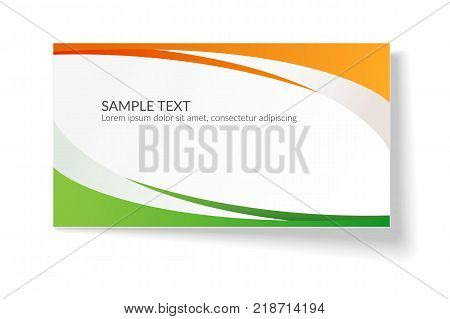 Card With Abstract Smooth Wavy Lines Orange And Green Stripes A Bright Creative Element For The Desi