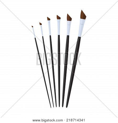 set of angular paint brush stationary, collection of color painting accessory, artist tools, vector illustration