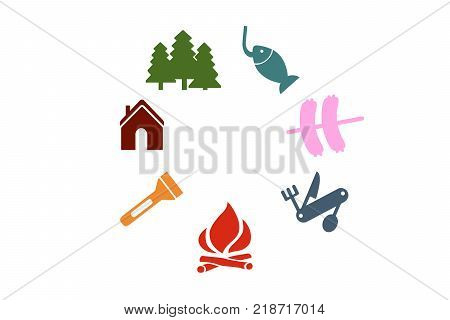 Set of colorful campground camping illustrations on white background