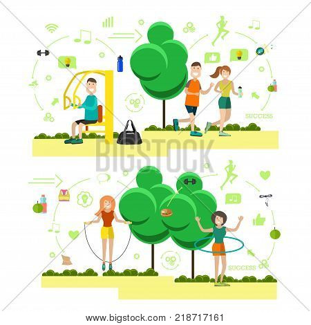 Vector illustration of sporty men and women jogging, exercising on training apparatus, doing hula hoop and jump rope exercises. Training outside people flat symbols, icons isolated on white background