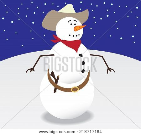 Cowboy snowman is getting ready to shoot it out with his stick gun