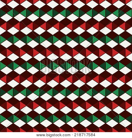 Seamless pattern in Christmas traditional colors with polygons tessellation. Repeated diamonds background. Rhombuses and lozenges motif. Ethnic and tribal style. Geometric digital paper.