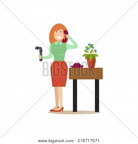 Vector illustration of woman holding broken pipe and calling to emergency service. Flat style design element, icon isolated on white background.