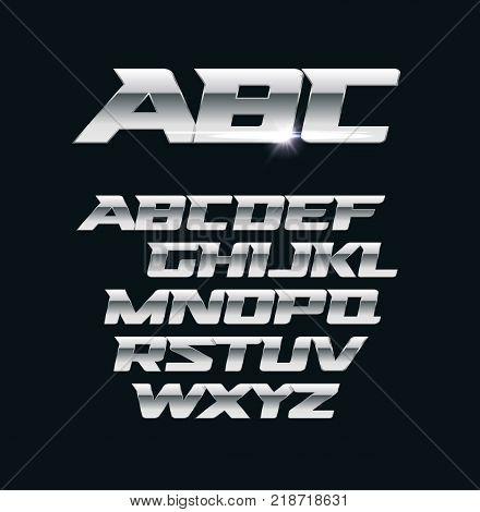 Modern chrome vector font. Metallic letters, polished steel style symbols. Aluminium bold geometric alphabet