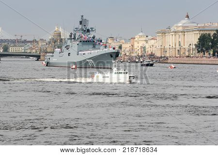 St. Petersburg, Russia - 28 July, Naval parade in the city, 28 July, 2017. Festive parade of warships on the Neva River in St. Petersburg.