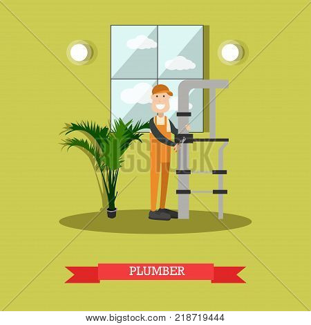 Vector illustration of pipe fitter fixing leaking water pipes with pipe wrench. Plumber concept design element in flat style.