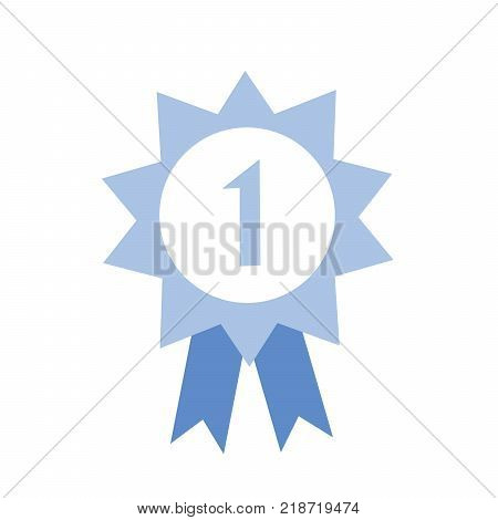 Honour award number one and ribbon. Blue award icon. Flat vector illustration on white background.