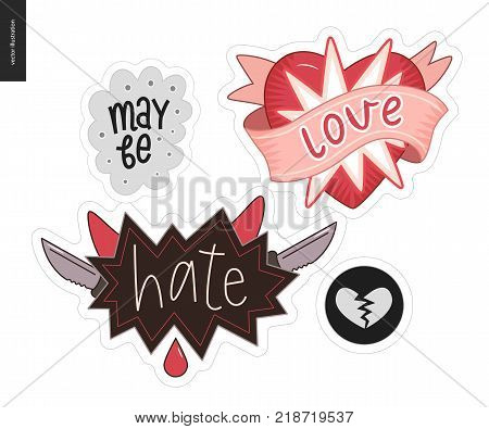 Set of contemporary girlie Love letter logo. A set of vector patches, logo and letter composition. Love, May be, Hate and a broken heart. Vector stickers kit.
