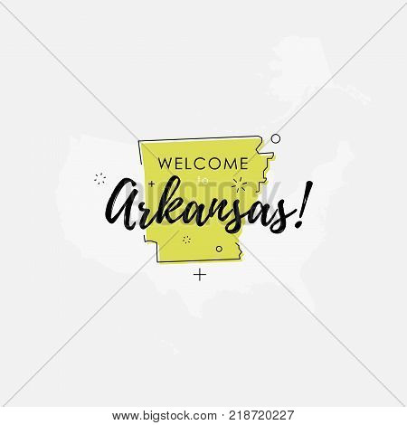 Vector illustration of greeting sign with welcome to Arkansas text and state silhouette.