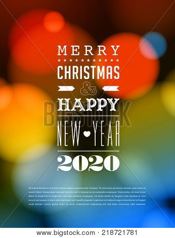 Merry Christmas and Happy New Year 2020 Greeting Card. Vector EPS 10. No mesh. For your print and web messages : greeting cards, banners, t-shirts.