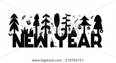 New year greeting holiday card in b and w style. Vector illustration