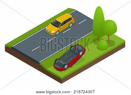 Car flipped. Car turned over after accident. Vehicle flipped onto roof. Car insurance. Protection from danger, providing security. Vector isometric illustration flat design