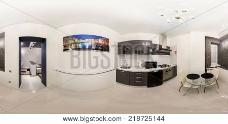 GRODNO BELARUS - NOVEMBER 12 2012: Full spherical 360 degrees panorama in equirectangular equidistant projection seamless panorama of kitchen interior Scandinavian minimalist style design VR content
