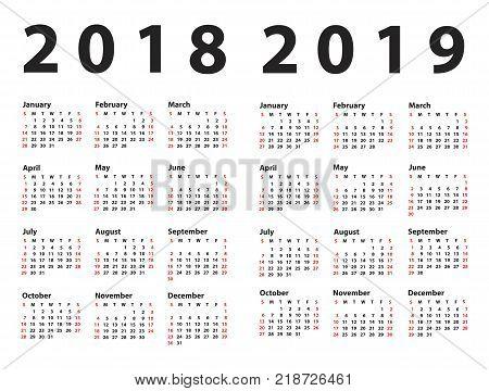 Set calendar 2018, 2019 starting from Sunday. Vector illustration