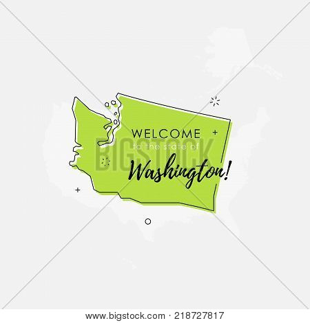 Vector illustration of greeting sign with welcome to the state of Washington text and state silhouette.