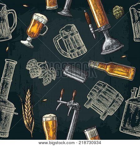 Seamless pattern beer tap, class, barrel, can, bottle and hop. Vintage vector engraving illustration for web, poster, invitation to party. Hand drawn color design element isolated on dark background.