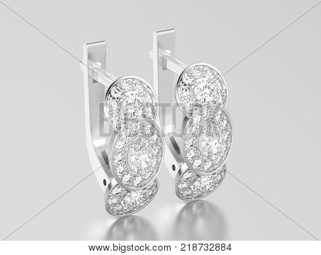 3D illustration white gold or silver three stone solitaire diamond earrings with hinged lock on a grey background