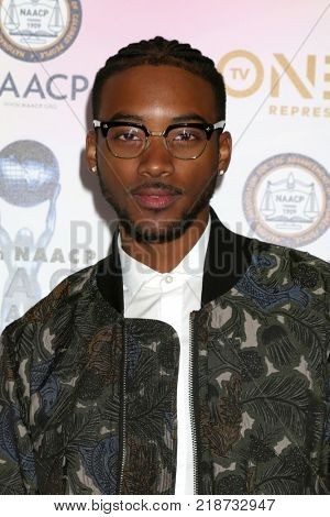 LOS ANGELES - DEC 16:  Algee Smith at the 49th NAACP Image Awards Nominees' Luncheon at Beverly Hilton Hotel on December 16, 2017 in Beverly Hills, CA