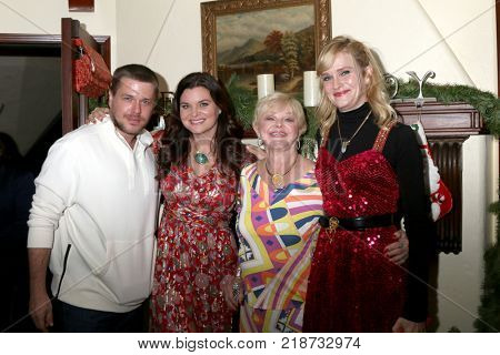 LOS ANGELES - DEC 16:  David , Heather Marie, and Nicholle Tom at the Heather Tom, James Achor, Zane Achor Christmas Party at their private residence on December 16, 2017 in Glendale, CA