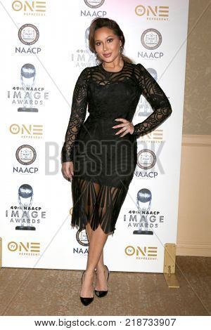 LOS ANGELES - DEC 16:  Adrienne Houghton at the 49th NAACP Image Awards Nominees' Luncheon at Beverly Hilton Hotel on December 16, 2017 in Beverly Hills, CA