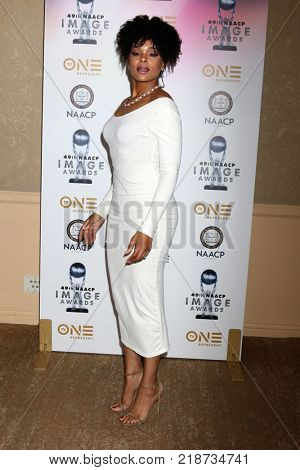 LOS ANGELES - DEC 16:  Demetria McKinney at the 49th NAACP Image Awards Nominees' Luncheon at Beverly Hilton Hotel on December 16, 2017 in Beverly Hills, CA